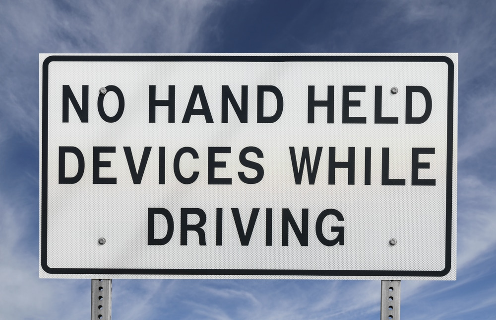 No Hand Held Devices While Driving Sign