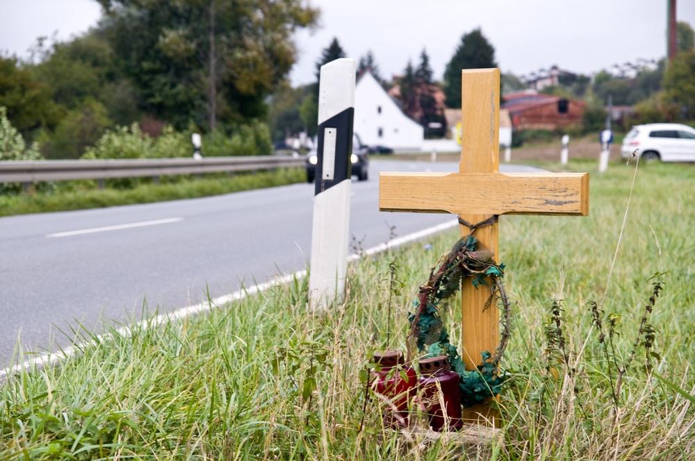 National Teen Driver Safety Week roadside memorial