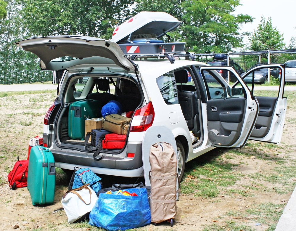 family car loaded with luggage