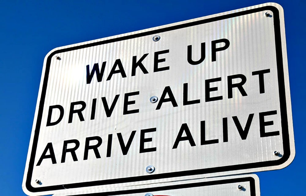 Drowsy driving road sign